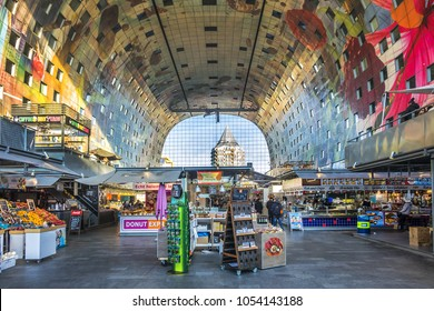 ROTTERDAM, THE NETHERLANDS - FEBRUARY 23, 2018. Inside Rotterdam Markthal - largest weekly open food market at a historical location at the Binnenrotte.
