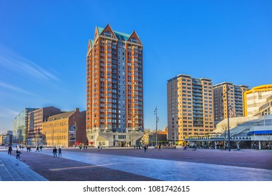 ROTTERDAM, THE NETHERLANDS - FEBRUARY 23, 2018. Modern architecture of downtown Rotterdam. Rotterdam is a young, dynamic global city, continuously renewing itself at a rapid rate.