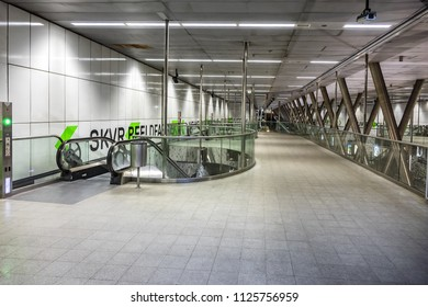 ROTTERDAM, THE NETHERLANDS - FEBRUARY 23, 2018: View of Wilhelminaplein subway station in city of Rotterdam. Rotterdam subway (Rotterdamse metro) was first metro system in Netherlands, since 1968.