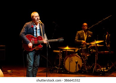 Rotterdam, the Netherlands - February 28, 2016: Stuart Staples and Earl Harvin of British rock band Tindersticks perform live on stage at De Doelen music hall.