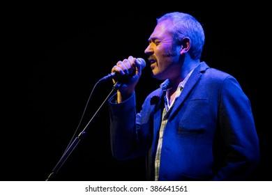 Rotterdam, the Netherlands - February 28, 2016: Stuart Staples of British rock band Tindersticks performs live on stage at De Doelen music hall.