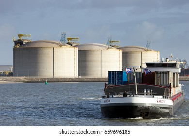 ROTTERDAM, NETHERLANDS - JAN 13, 2012: Barge ship arriving in the Port of Rotterdam.