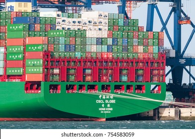ROTTERDAM, THE NETHERLANDS - JANUARY 11, 2015: The ultra large container ship CSCL Globe from the China Shipping Line is moored at the Euromax Terminal in the Port of Rotterdam, The Netherlands.