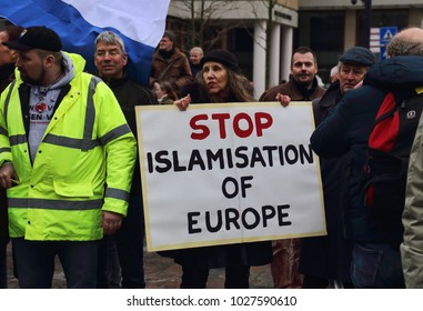 Rotterdam, The Netherlands - January 20, 2017: People demonstrate against islamization, carrying signs with slogans in Rotterdam, The Netherlands on Janyary 20, 2017