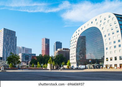 Rotterdam, The Netherlands - July 18, 2016: The modern architectures of the Market Hall