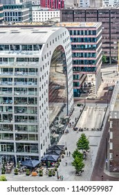 Rotterdam, The Netherlands, July 18, 2018: Western facade with parking entrance of the Markthal, a retail and residential building designed by MVRDV