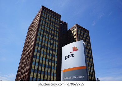 Rotterdam, the Netherlands. July 2017. Price Waterhouse Coopers (PwC) office building.