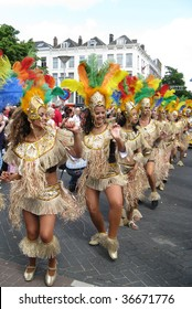 ROTTERDAM, NETHERLANDS - JULY 25: Beautiful girls in a summer carnival parade,  July 25, 2009, in Rotterdam, the Netherlands