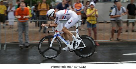 ROTTERDAM, THE NETHERLANDS - JULY 3: Bradley Wiggins participates in the 2010 Tour de France prologue time trial. July 3, 2010 in Rotterdam, The Netherlands