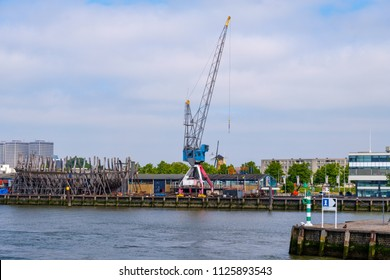 ROTTERDAM, THE NETHERLANDS - JUN 27, 2018 : Reconstruction of an historical VOC ship Delft (1782-1797) in the harbor of Rotterdam