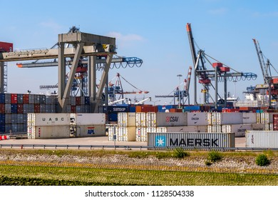 ROTTERDAM, THE NETHERLANDS - JUN 27, 2018 : The Port of Rotterdam, the Netherlands. Container terminal Rotterdam harbour.