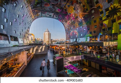 Rotterdam , Netherlands - June 05, 2015: modern market hall in Rotterdam , designed by architect firm MVRDV