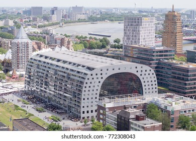 Rotterdam, Netherlands - june 11, 2017: Arial view at Rotterdam skyline - Markthal
