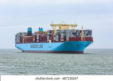 ROTTERDAM, THE NETHERLANDS - JUNE 12, 2017: The ultra large container ship Madrid Maersk arrives at the Maasvlakte, Port of Rotterdam for its maiden call on June 12, 2017.