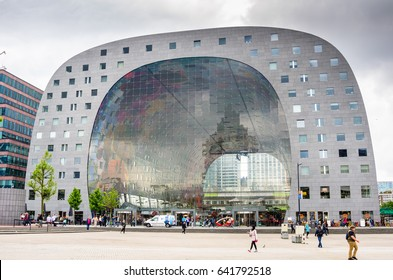 Rotterdam, The Netherlands - June 15, 2016:  External View of the Rotterdamse Markthal (Rotterdam Market hall) near Blaak Train Station. Designed by MVRDV architects it was finished in 2014.