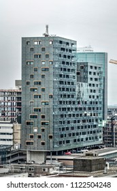 Rotterdam, The Netherlands, June 16, 2018: De Karel Doorman by Ibelings van Tilburg architects is a residential complex built on top of a monumental department store from the 1950's