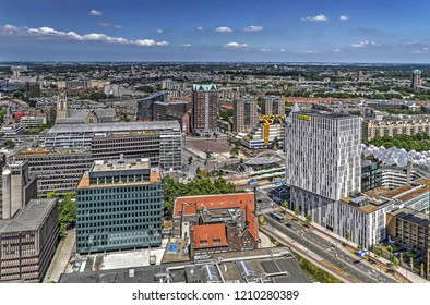 Rotterdam, The Netherlands, June 18, 2017: aerial view of the downtown area around the city's origins with modern buildings including Markthal, library and cube houses