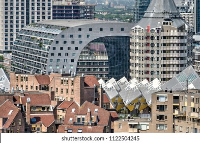 Rotterdam, The Netherlands, June 3, 2018: Markthal, a mixed-use building with appartments and retail, designed by MVRDV architects, was opened in 2014