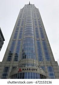 ROTTERDAM, NETHERLANDS- JUNE 30, 2017: City skyline, Marriott hotel on june 30, 2017 in Rotterdam, Netherlands