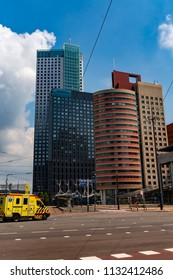 Rotterdam, Netherlands - June 3,2018: Medicial vehicle driving through the city center