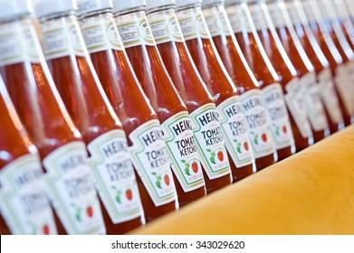 Rotterdam, Netherlands â?? June 7, 2015: Heinz Tomato Ketchup, selective focus