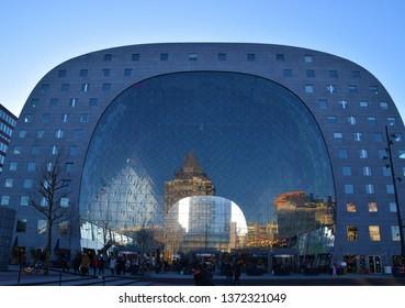 Rotterdam, Rotterdam / Netherlands - March 10 2018: Markthal Market Hall exterior