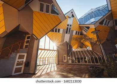 Rotterdam, Netherlands - March 12th, 2020: Kubus Houses in Rotterdam, Netherlands