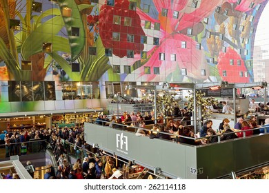 ROTTERDAM, NETHERLANDS- March 14, 2015: view of the new artistic Markthal in Rotterdam, Netherlands, March 14, 2015
