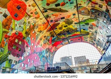 Rotterdam, Netherlands - March 23, 2019: Rotterdam Markthal Architectural Features