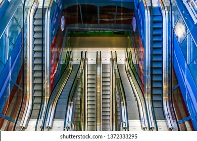 Rotterdam, Netherlands - March 23, 2019: Escalators in Markthal Rotterdam