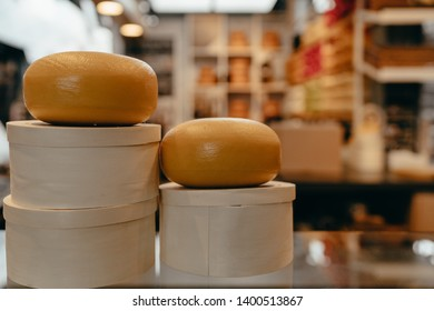 Rotterdam, Netherlands - March 30, 2019; Cheese shop in Markthal, Rotterdam. The Markthal has about 100 fresh food stands, nearly 15 food shops and various restaurants, with a supermarket and car park