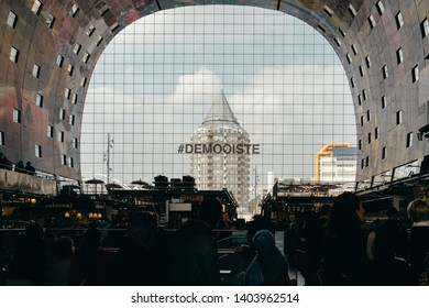 Rotterdam, Netherlands - March 30, 2019; Indoor view of Markthal. The Markthal is a residential and office building with a market hall underneath, located in Rotterdam.