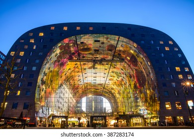 ROTTERDAM, THE NETHERLANDS - MARCH 7, 2016: Exterior night view of the new and colored Market Hall, located in the Blaak district in Rotterdam,