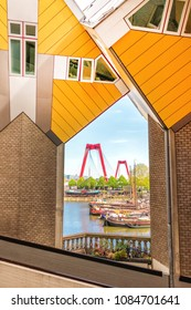 Rotterdam, Netherlands - May 03, 2018:  View of Willemsbrug Seen From The Cube Houses in Rotterdam