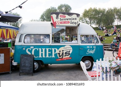 Rotterdam, Netherlands -may 11, 2018:  Volkswagen foodtruck selling ice cream at a festival