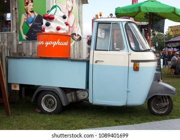 Rotterdam, Netherlands -may 11, 2018:  Vespacar foodtruck selling frozen yoghurt at a foodtruck festival