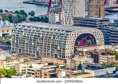 Rotterdam, The Netherlands, May 11, 2018: the giant arch of the new Markthal building, surrounded by other modern architecture
