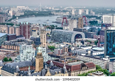 Rotterdam, The Netherlands, May 11, 2018: view of the city center with city hall, former post office, Saint Lawrence Church and Markthal