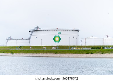 ROTTERDAM, NETHERLANDS - MAY 14, 2016: large BP oil tanks in the rotterdam harbor area.
