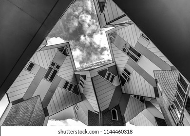 ROTTERDAM, NETHERLANDS - MAY 17, 2017: Modern buildings city architecture. Black-white photo. May 17, 2017 in Rotterdam - Netherlands.