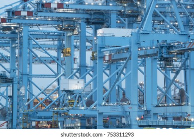 ROTTERDAM, NETHERLANDS - MAY 17, 2017: Container cranes at APM terminals. This terminal located in the port of Rotterdam is the most technologically advanced container terminal in the world.