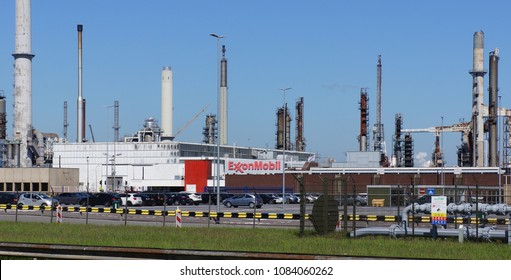 Rotterdam, the Netherlands. May 2018. Exxon Mobil Corporation (stylized as ExxonMobil) is an American multinational oil and gas corporation.