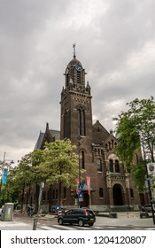 Rotterdam, Netherlands - May 22, 2018:  Arminiuskerk, a church of Remonstrant community, built in 1897 in the center of Rotterdam and designed in transitional architecture with Neo-Romanesque elements