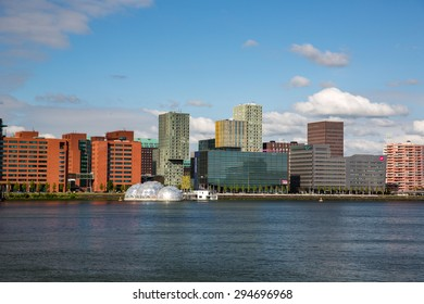 Rotterdam, Netherlands - May 25, 2015: Cityscape of Rotterdam, a city defined by modern architecture.