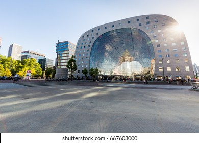 ROTTERDAM, NETHERLANDS - MAY 25, 2017: Exterior view of the Market Hall a residential and office building on May 25, 2017. The building was opened on October 1, 2014, by Queen Maxima of  Netherlands.