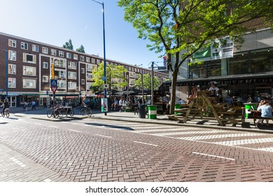 ROTTERDAM, NETHERLANDS - MAY 25, 2017: Exterior view of the Schilderstraat street in the city center of Rotterdam on May 25, 2017. Its a popular district for bars and restaurants.