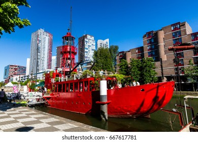 ROTTERDAM, NETHERLANDS - MAY 25, 2017: Exterior view of the Leuvehaven ship harbor in the city center of Rotterdam on May 25, 2017. Its located between the center of Rotterdam and the Erasmus bridge.
