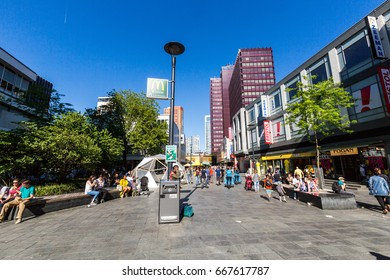 ROTTERDAM, NETHERLANDS - MAY 25, 2017: View of people shopping at the shopping street Binnenwegplein and Lijnbaan on May 25, 2017. Its located in the city center of Rotterdam.