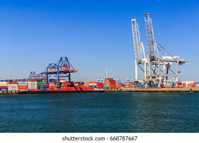 ROTTERDAM, NETHERLANDS - MAY 26, 2017: Exterior views of the Harbor Port of Rotterdam on May 26, 2017. It is the largest port in Europe and until 2004 it was the worlds busiest port.