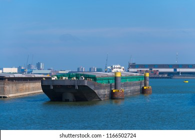 ROTTERDAM, NETHERLANDS - MAY 6, 2017: empty pushing barge in the rotterdam harbor